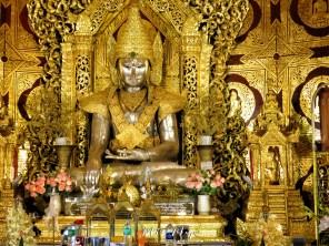 Golden Buddha Statue inside Kaba Aye Pagoda - World Peace Pagoda - Yangon Myanmar - by Anika Mikkelson - Miss Maps - www.MissMaps.com