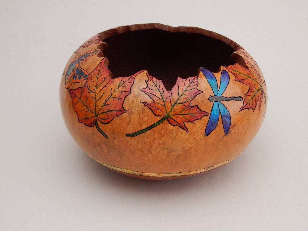 hand painted gourd art, gourd bowl, autumn leaves, carved gourd, fall colors gourd, dragonfly gourd, butterflies gourd, fall table centerpiece, holiday decor, gardener gift
