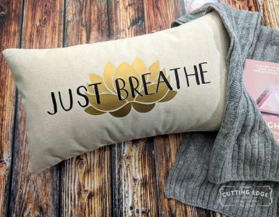 Just Breathe Lotus Cotton Canvas Natural Lumbar Pillow