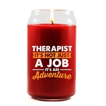 """Therapist, It's an Adventure"" candle - available in red and black"