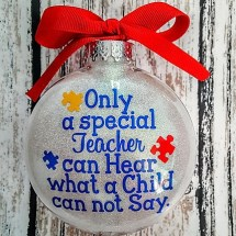 Autism Teacher Christmas Ornament