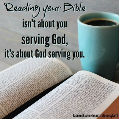 """This does not mean to come to the Word with a spirit of selfishness (""""SERVE ME!""""), but rather to approach the Lord with open hands and view His Word as a gift that He is lavishing upon me. Like someone serving me from a buffet or feast, He is there to serve me with nourishment and sustenance, to provide my every need. This is in contrast to approaching the Bible out of duty, checking the """"good little Christian"""" spiritual disciplines boxes or else God won't be happy with me."""