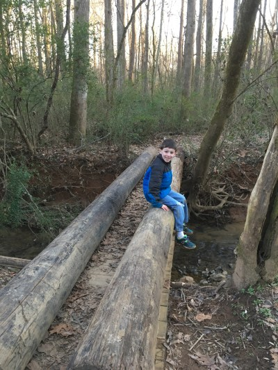 special needs child walk creek bridge logs