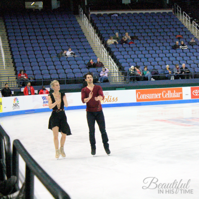 US Senior Ice Dance team Madison Hubbell and Zachary Donohue cheering on their competitors during practice.