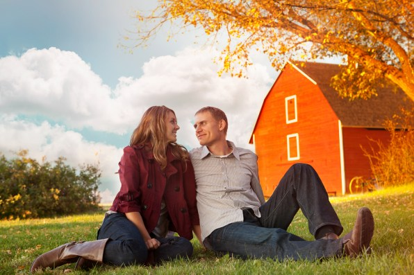 Young couple enjoying the end of their day on the farm.