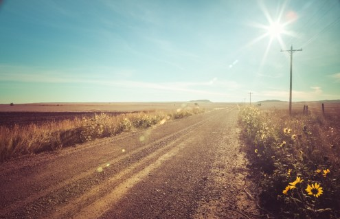Country road & summer sunshine