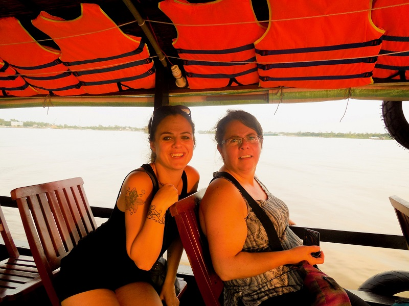 Empowered women travellers on Mekong River Vietnam