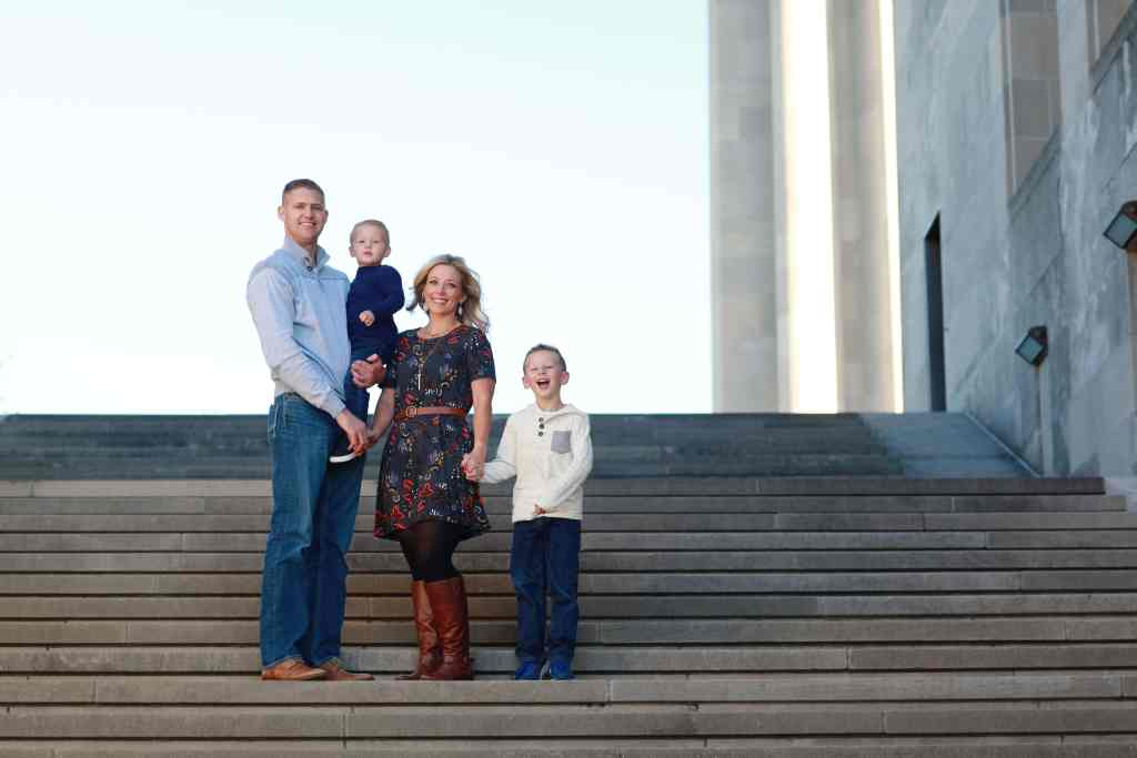 Family on the steps at Liberty Memorial in Kansas City
