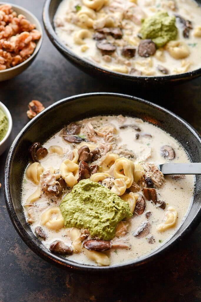 Overhead shot of Slow Cooker Gourmet Spicy Chicken Tortellini Soup