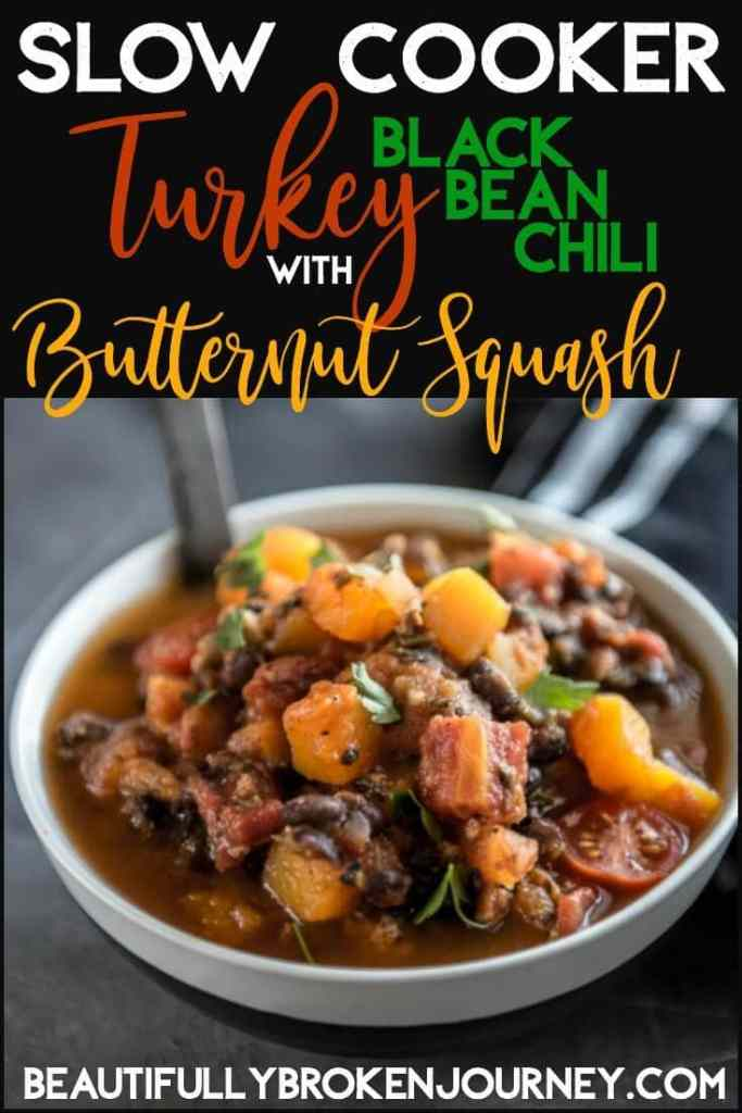 This Slow Cooker Turkey Black Bean Chili with Butternut Squash is an easy recipe that is an excellent way to incorporate more veggies into your diet!