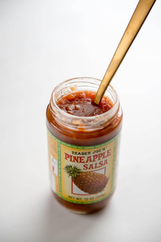 Open jar of Trader Joe's pineapple salsa