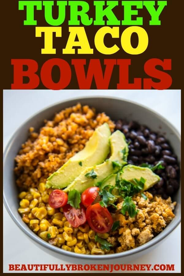 Turkey Taco Bowls with Cauliflower Rice is a healthy low-carb meal that is quick and easy to prepare and makes great leftovers! #turkey #groundturkey #blackbeans #cauliflowerrice #cauliflower #lowcarb #wholefoods #healthyrecipe