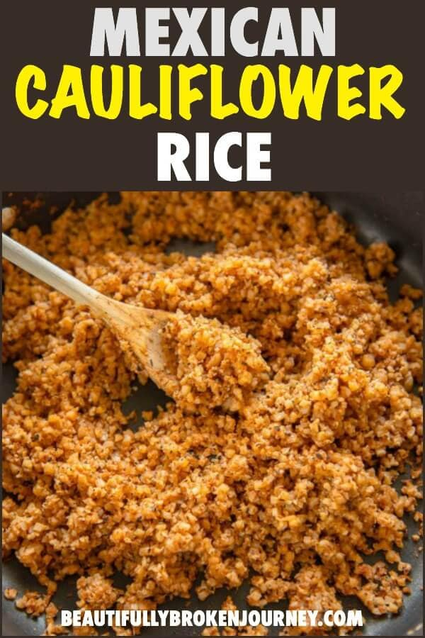 Quick and easy Healthy Mexican Cauliflower Rice recipe is the perfect side dish for tacos and other mexican dishes. You will love how easy it is to make, too!  #cauliflowerrice #cauliflower #healthyrecipe #mexicancauliflowerrice #tacotuesday #smartpoints #weightwatchers