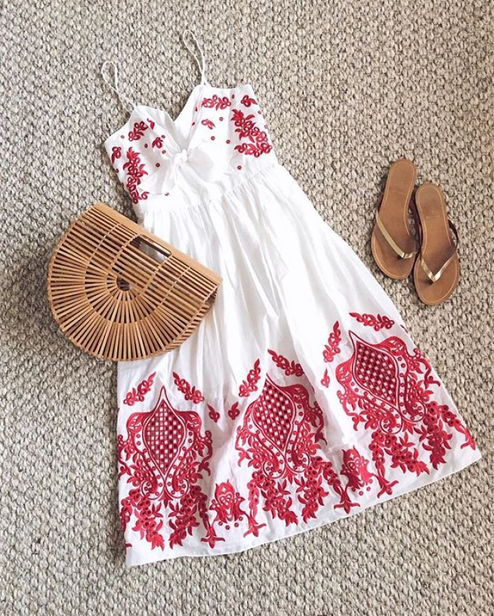 red carter embroidered dress