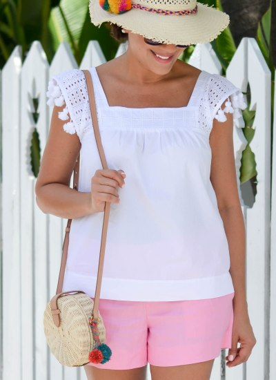 PERFECT PINK SUMMER SHORTS & WHITE TASSEL TOP
