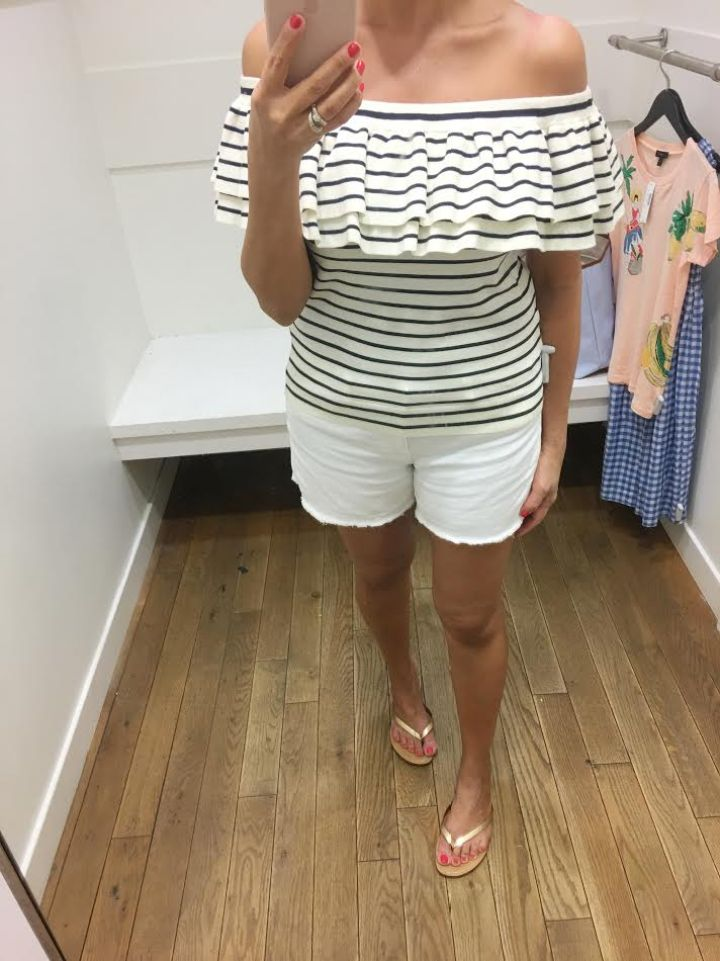 LIGHTWEIGHT STRIPED OFF-THE-SHOULDER RUFFLE SWEATER