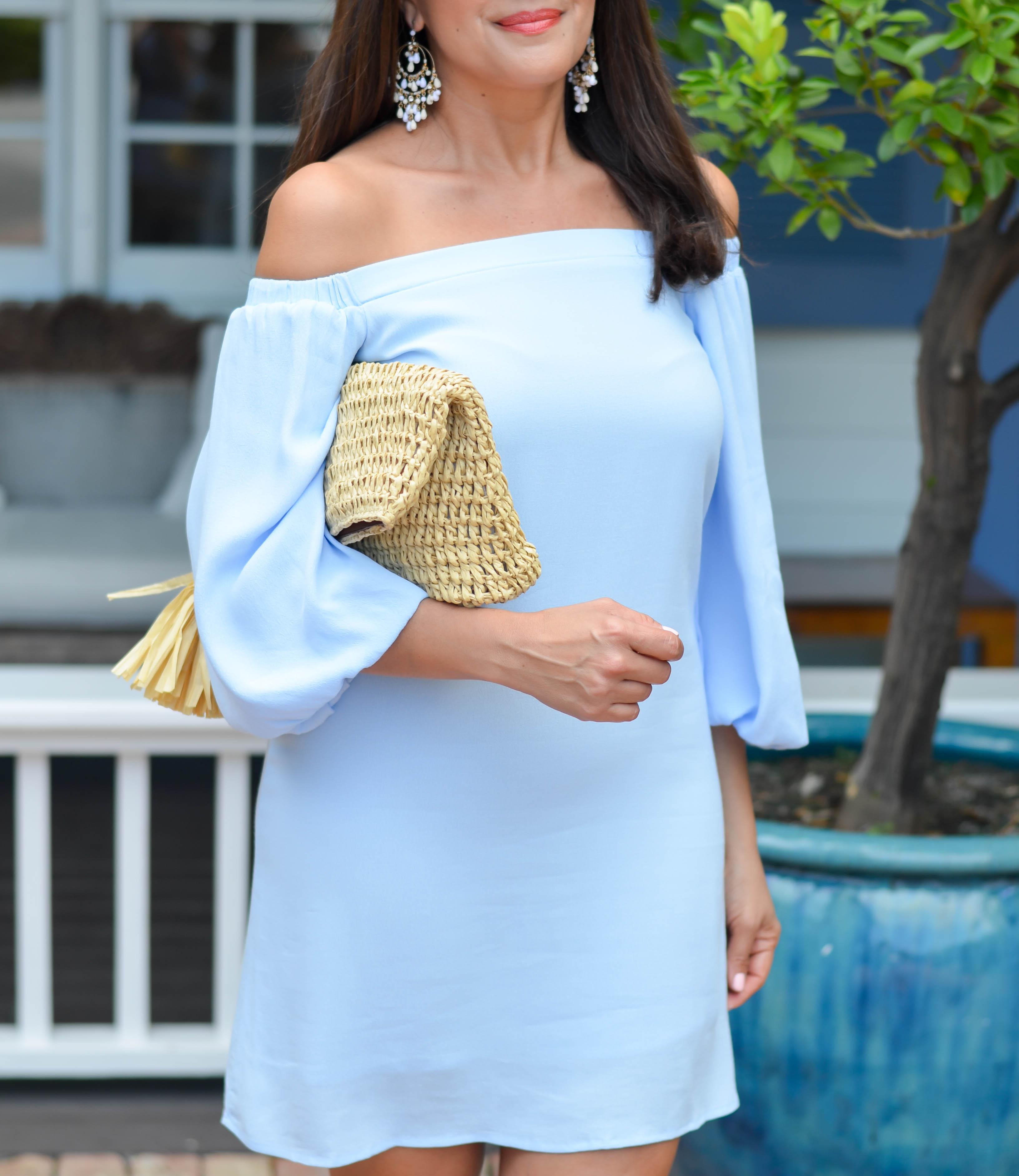 powder blue off the shoulder dress