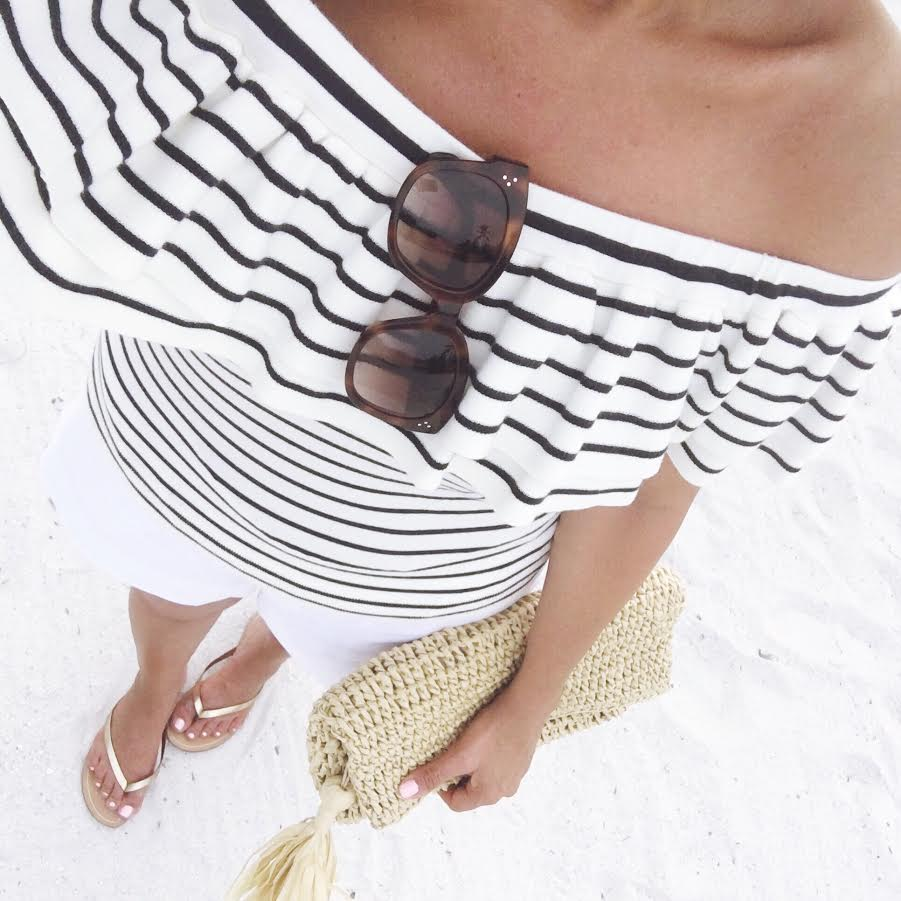 lightweight off the shoulder striped sweater J.Crew