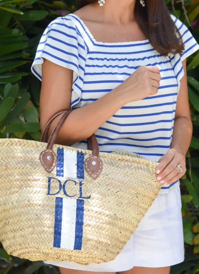 FAVORITE SUMMERY STRIPED TOP & BEACH BAG