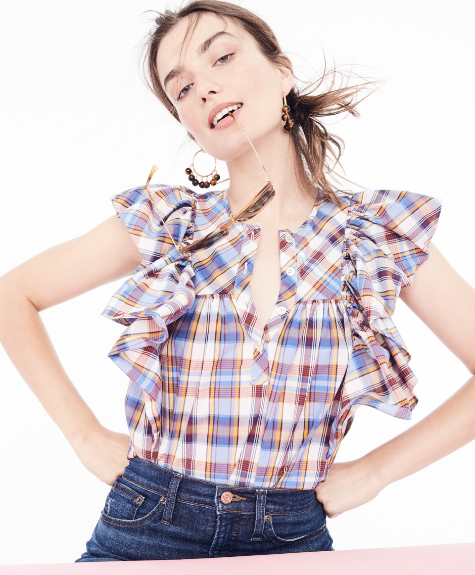 J.Crew plaid ruffle top