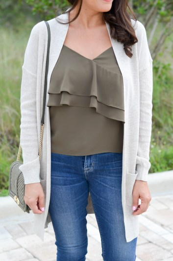 Desiree of Beautifully Seaside wears a fall cardigan by BP. that costs uner $100