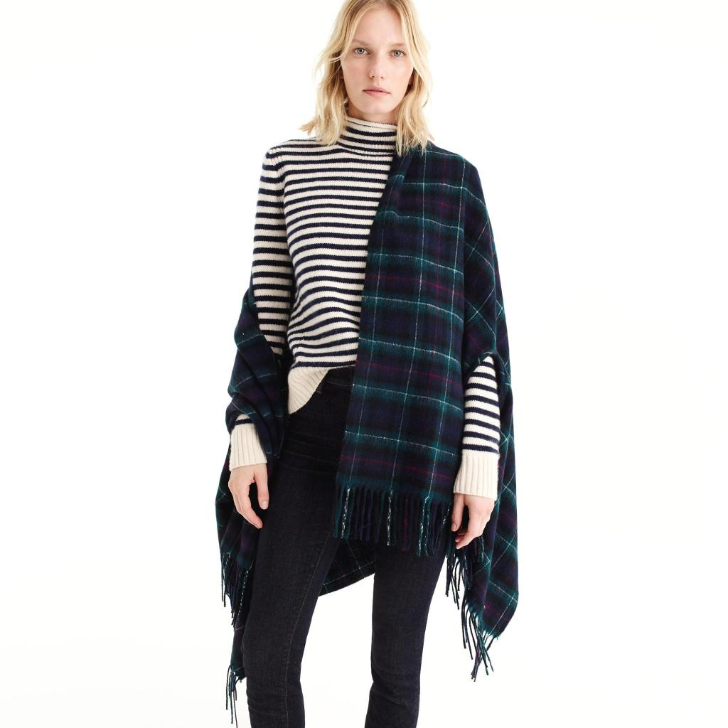 J.Crew plaid cape scarf