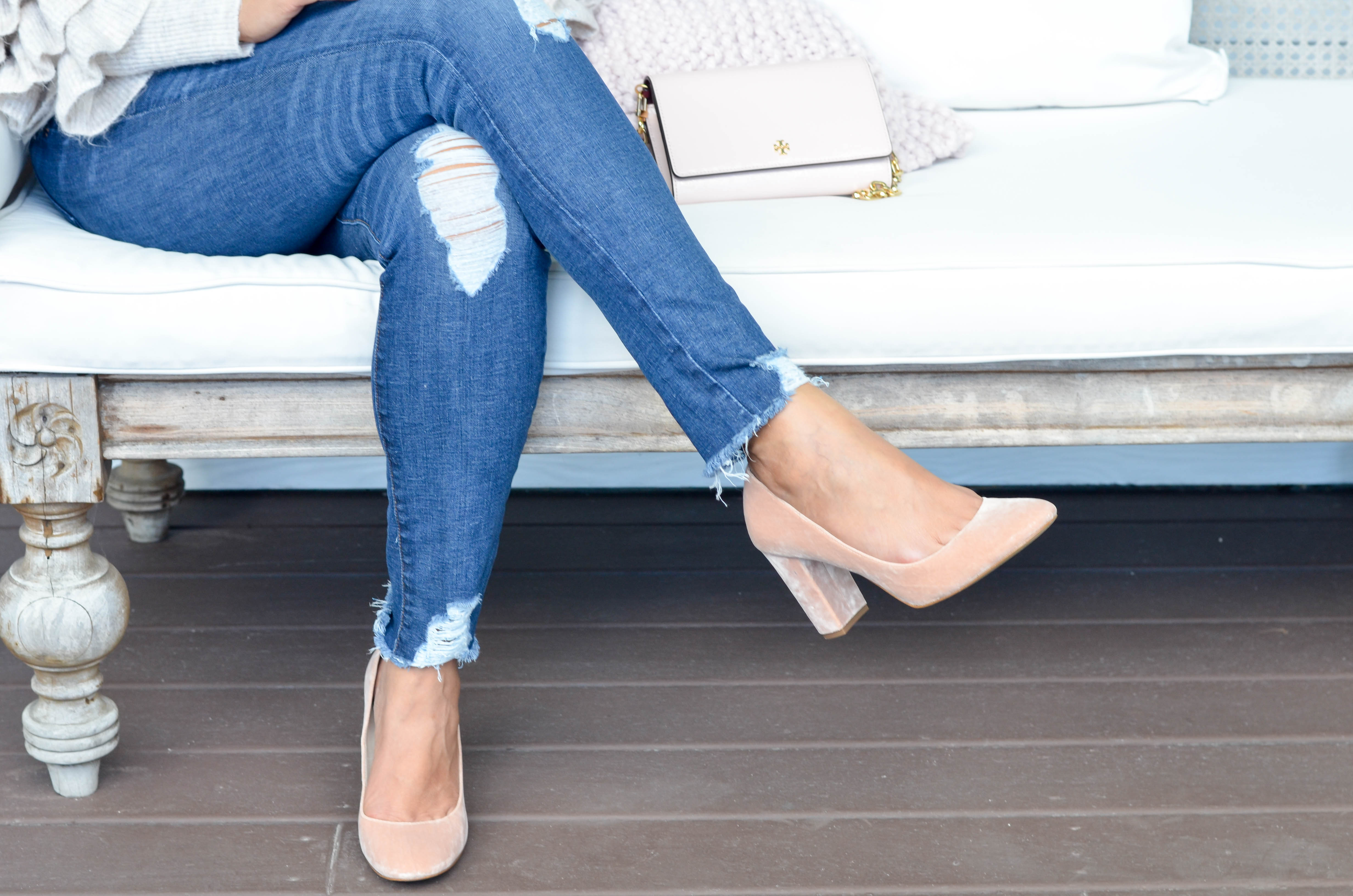 Lifestyle blogger, Desiree of Beautifully Seaside, shares her favorite blush shoes for the holidays available at Nordstrom.