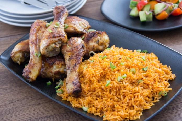 Jollof rice and jerk chicken