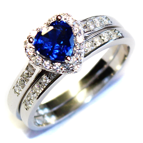 Sapphire Heart Promise Ring With Band Blue Cubic