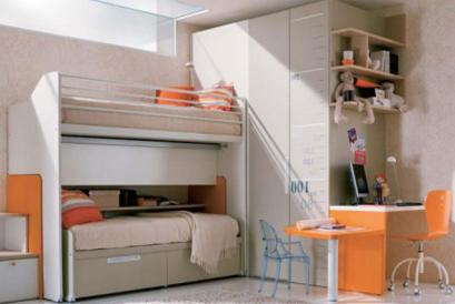 cool-orange-bedroom-ideas-for-teenage-girls-small-teen-room-layout-white-wall-wooden-floor-cool-modern-beds-for-teens-orange-color-of-furniture-creative-bunk-bed-cool-bedroom-designs-interior-ideas