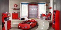 race-cars-boys-bedroom-ideas-red-car-bed-and-red-shelving-furniture-ideas-transportation-station-turnament-olimpiade-with-white-wall-and-hardwood-floor-safety-room-for-cute-boy-room-ideas