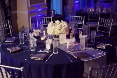 White Low Wedding Centerpieces with Bling Rhinestone Vase