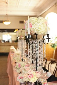 Tall Pink, White and Green Pastel Wedding Centerpieces with Candles and Crystals