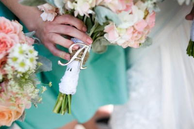Pastel White, Pink and Green Wedding Bouquet