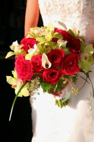 red rose, green cymbidium orchid, calla lily bridal bouquet