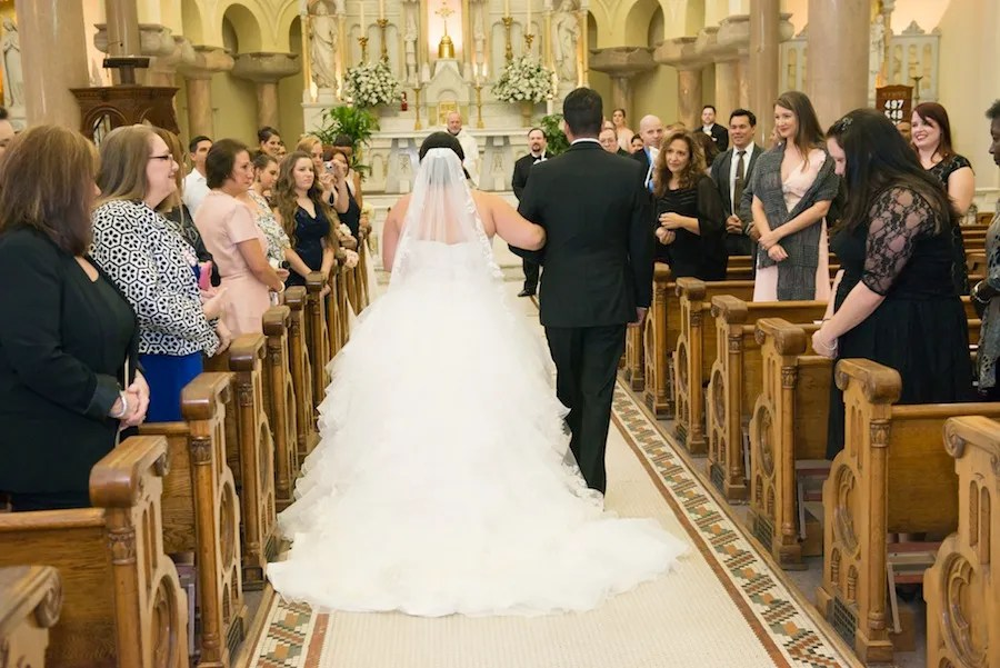 Bride and Dad Walking Down the Aisle | Tampa Wedding Ceremony | Downtown Tampa Wedding Sacred Heart Catholic Church