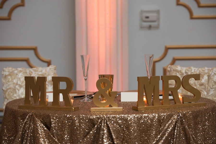 Wedding Reception Sweetheart Table Decor With Mr And Mrs