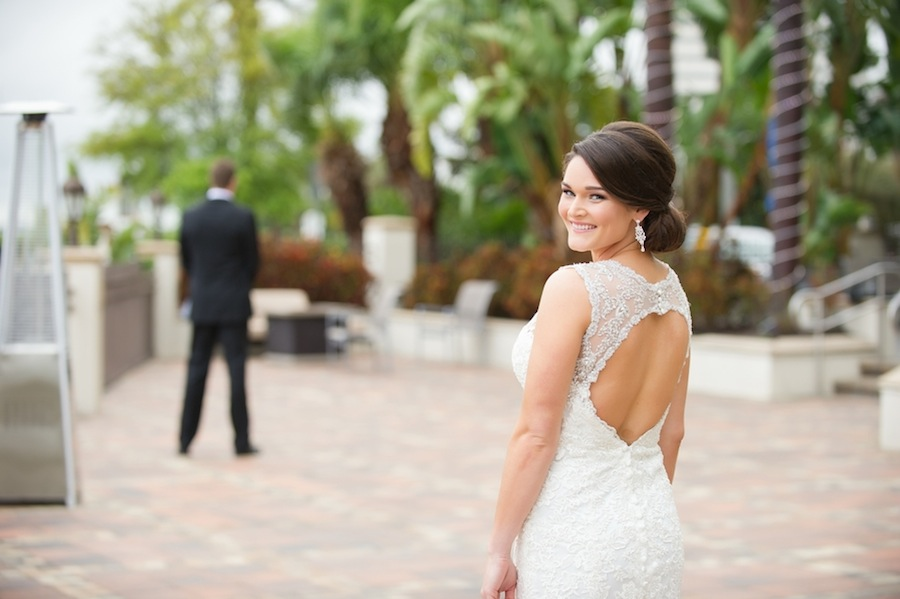 Tampa Bride and Groom First Look on Wedding Day