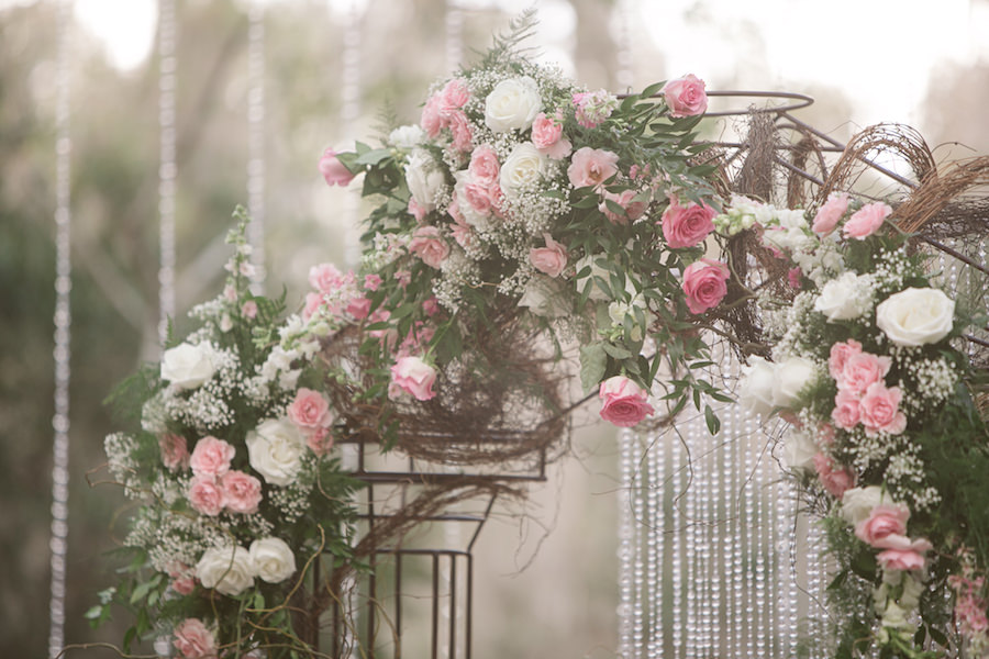 Rustic Glam Floral Wedding Archway with White and Light Pink Roses, Baby's Breath, Greenery and Cascading Crystals | Rose Petal Aisle | Wedding Ceremony Ideas | Tampa Bay Wedding Floral Designer Northside Florist