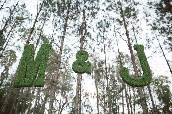 Rustic Wedding Decoration Moss Bride and Groom Initials | Tampa Bay Wedding Floral Designer Northside Florist
