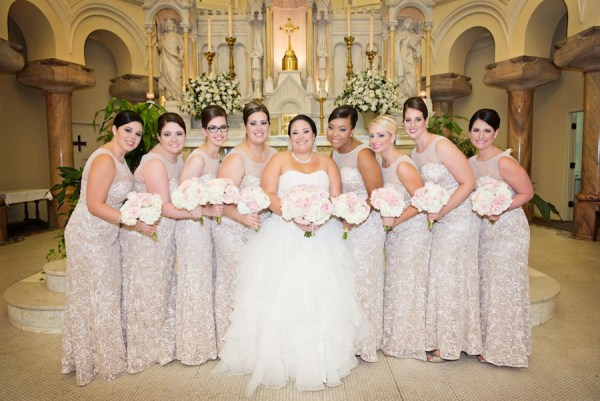 Blush Pink and White Rose and Hydrangea Wedding Bouquets with Blush Bridesmaid Dresses | Tampa Wedding Flower Northside Florist