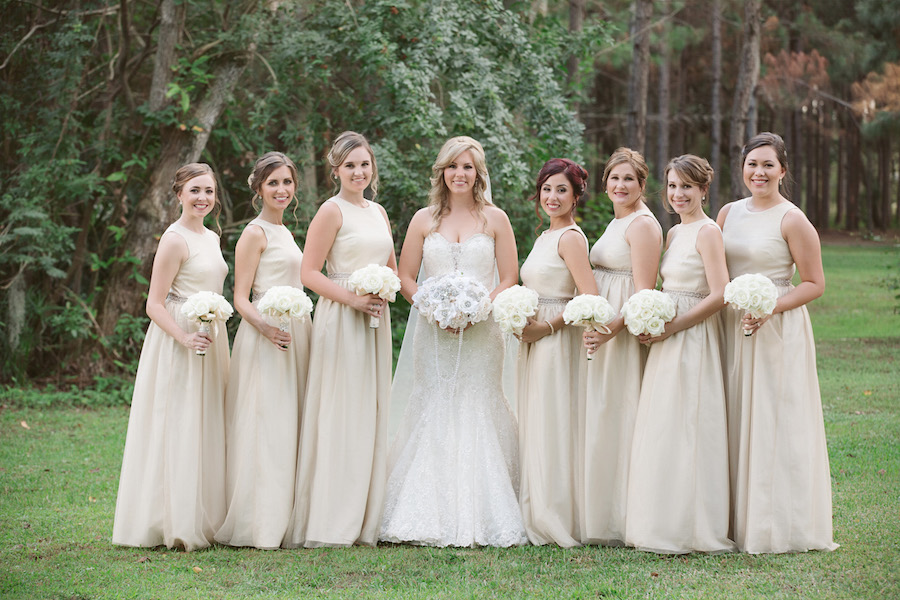 Outdoor Bridal Party Wedding Portrait | Tampa Wedding Floral Designer Northside Florist