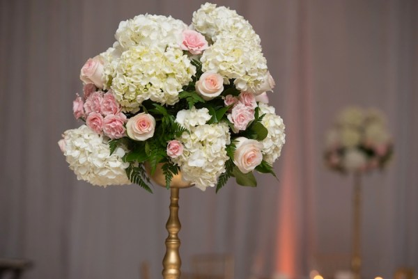 White and Pink Tall Wedding Centerpiece | Northside Florist - Tampa Wedding Florist