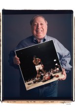 Neil Leifer holds his photo, Ali vs. Liston, which he took on May 25, 1965 in Lewiston, Maine.