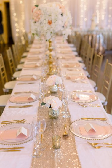 Gold Stands with Silk Floral Toppers