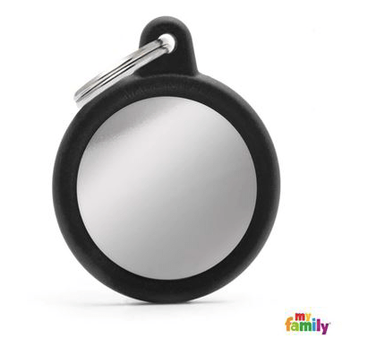 picture of chrome round hushtag name tag