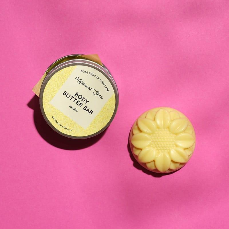 HelemaalShea palavartalovoi vanilja vartaloöljy kiinteä vartalokakku