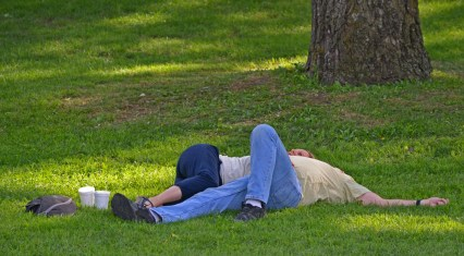 couple resting on grass