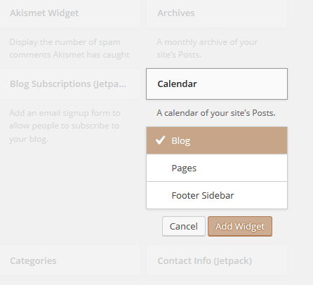 Add widget in wordpress blog