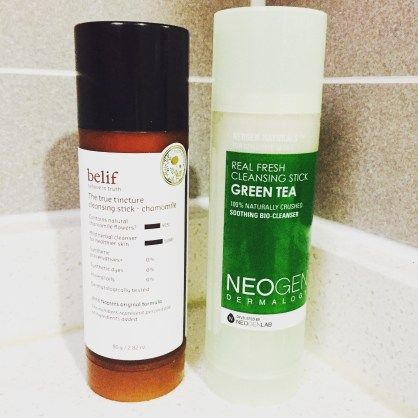 Belif True Tincture Cleansing Stick and Neogen Real Fresh Green Tea Cleansing Stick